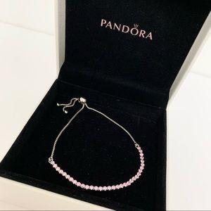 Pandora Silver and Pink Adjustable Bracelet